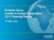 Ecobank 1Q 2011 Investor & Analyst Presentation