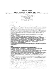 Regione Puglia Legge Regionale 14 giugno 2007, n. 17