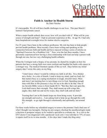 Faith is Anchor in Health Storm - Faith and Health Connection