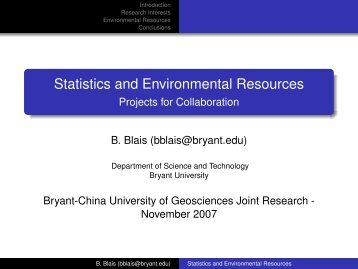 Statistics and Environmental Resources - Projects for Collaboration