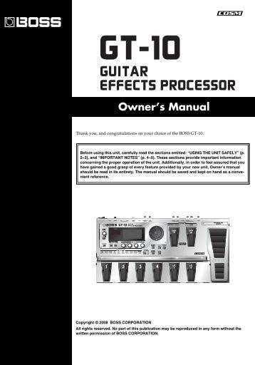 Owner's Manual (GT-10_OM.pdf) - Roland