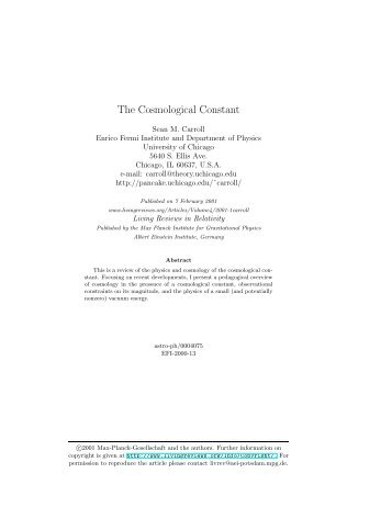 The Cosmological Constant - Handbook of Space Astronomy ...