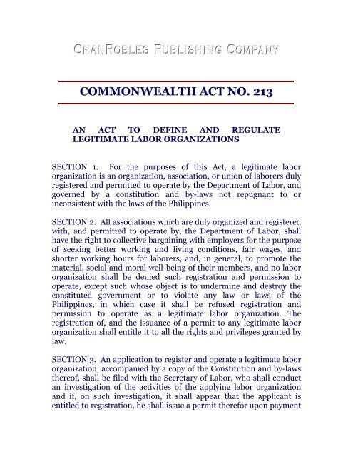 commonwealth act no  213 - Chan Robles and Associates Law Firm