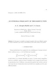 AN INTEGRAL INEQUALITY OF THE HARDY'S TYPE A. G. ...