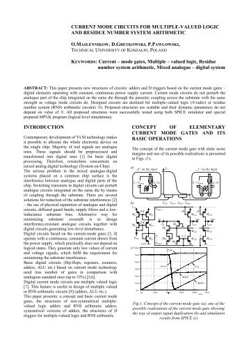 vhdl models of digital circuits on the current gates - kik - Koszalin