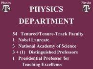 PHYSICS DEPARTMENT - Cyclotron Institute - Texas A&M University