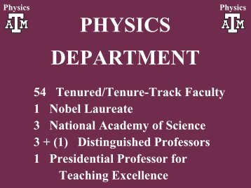 PHYSICS DEPARTMENT - Cyclotron Institute - Texas A&M University