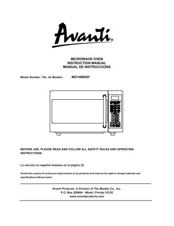 microwave oven instruction manual avanti products rh yumpu com oven user manual neff oven instruction manual