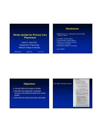Stroke Update for Primary Care Physicians ... - sowega ahec