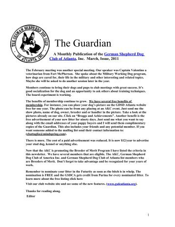 March Guardian - German Shepherd Dog Club of Atlanta