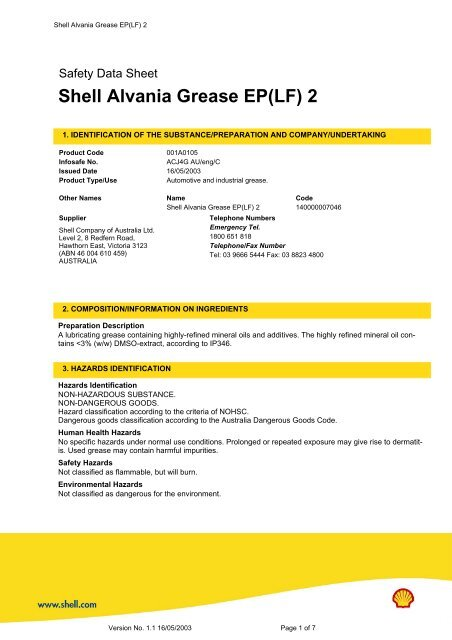 Alvania grease ep 1 msds