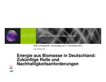 Energie aus Biomasse in Deutschland: Zukünftige Rolle und ... - kine
