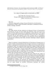 Les corpus de langue parlée en interaction au GRIC - Icar