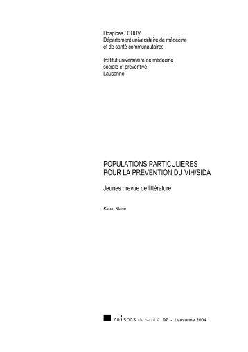 Populations particulières pour la prévention du VIH/SIDA - IUMSP