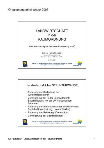 LANDWIRTSCHAFT in der RAUMORDNUNG - Raumordnung und ...