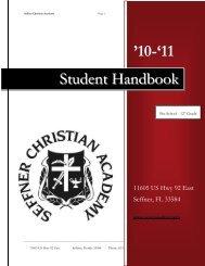 Student Handbook - Seffner Christian Academy