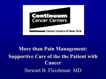 Cancer Supportive Care Program - Department of Pain Medicine ...