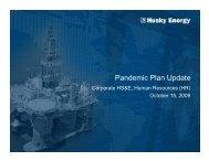 Pandemic Plan Update - Husky Energy