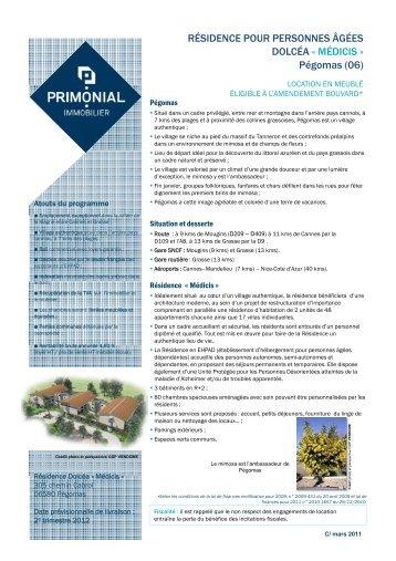 télécharger la fiche - Primonial Immobilier