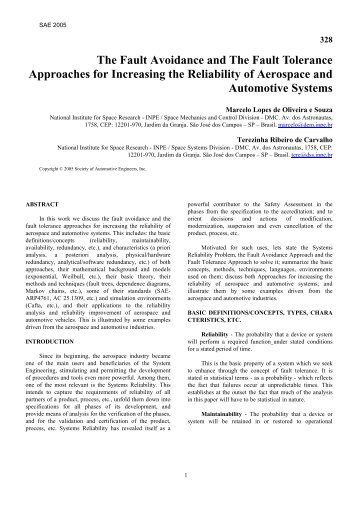 The Fault Avoidance and The Fault Tolerance Approaches for ... - Inpe