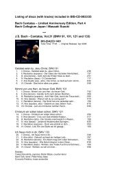 Listing of discs (with tracks) included in BIS-CD-9033/35 Bach ...