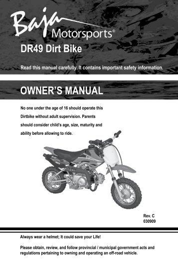 dr125 dr150 dirt bike owner s manual baja motorsports rh yumpu com baja mini bike manual baja warrior mini bike manual