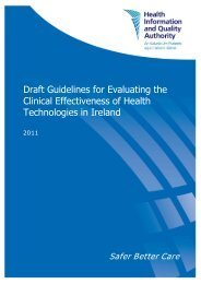 Draft Guidelines for Evaluating the Clinical Effectiveness of ... - hiqa.ie