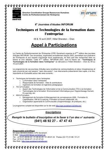 Appel à Participations
