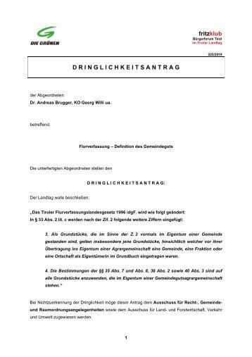 einen Dringlichkeitsantrag - Liste Fritz