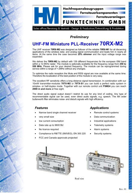 UHF-FM Miniature PLL-Receiver 70RX-M2 Specifications
