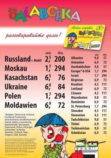 Russland + Mobil Moskau Kasachstan Ukraine Polen ... - Mobilka