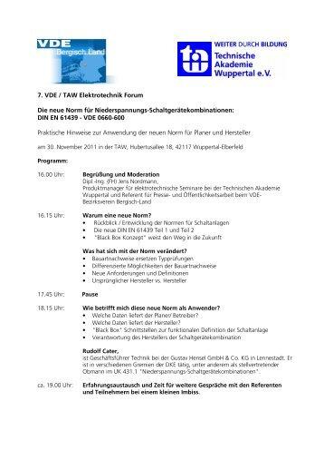 7. VDE TAW Forum Programm und Anmeldevorlage - Elektropraktiker