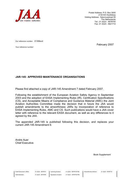 February 2007 JAR-145: APPROVED MAINTENANCE