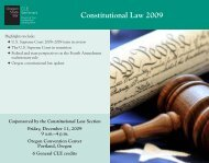 Constitutional Law 2009 - Oregon State Bar CLE Seminars