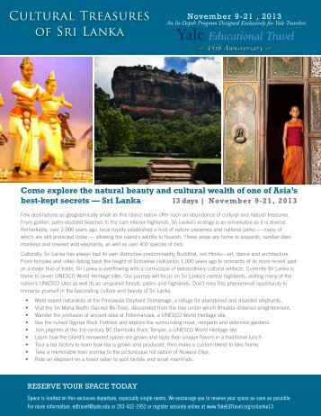 Cultural Treasures of Sri Lanka - Yale University