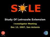SOLE Investigator's Meeting - IBCSG