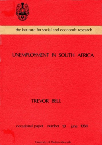 Bell, Trevor : Unemployment in South Africa