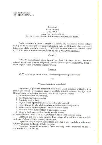 MK-S 15574/2010 Rozhodnutí ministra kultury č.23 /201 O