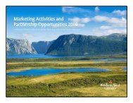 Marketing Activities and Partnership Opportunities 2008 - Tourism