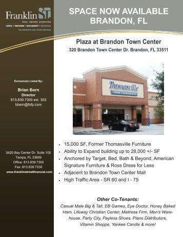 Plaza at Brandon Thomasville Flyer-BB - Franklin Street Financial