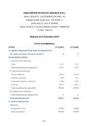 Bilancio al 31 Dicembre 2010 - GAIA Servizi di Utilità Sociale Srl a ...
