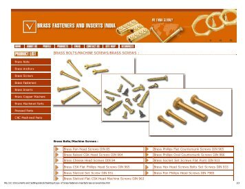 brass bolts/machine screws/brass screws - Brass Fasteners Inserts