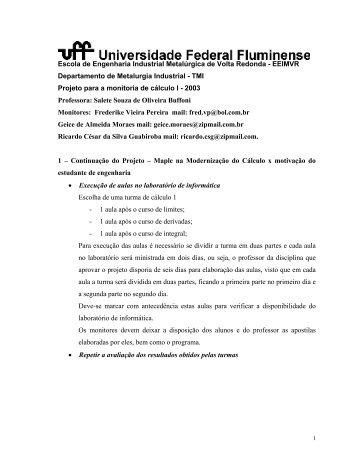 Projeto para a Monitoria de Cálculo I - Professores da UFF