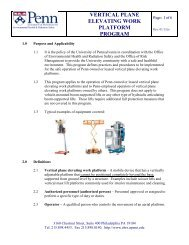 vertical plane elevating work platform program - Environmental ...