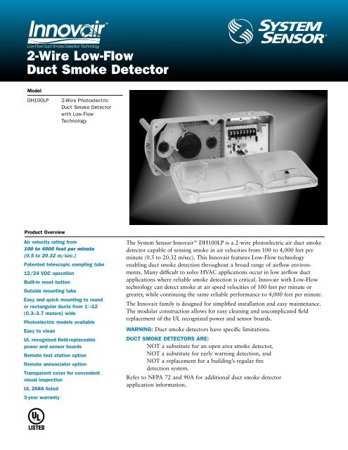 2-Wire Low-Flow Duct Smoke Detector