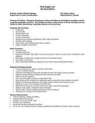 First Supply Group Job Description