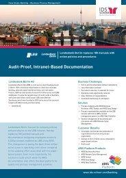 Audit-Proof, Intranet-Based Documentation - IDS Scheer AG
