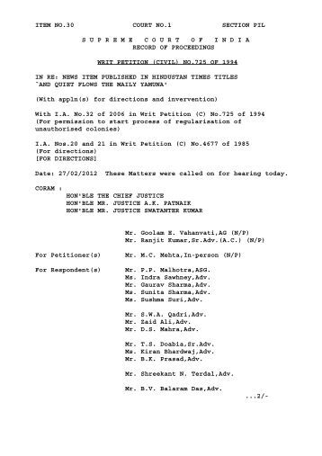 ORDER DT 27-02-2012 WRIT PETITION (CIVIL) NO.725 OF 1994 ...