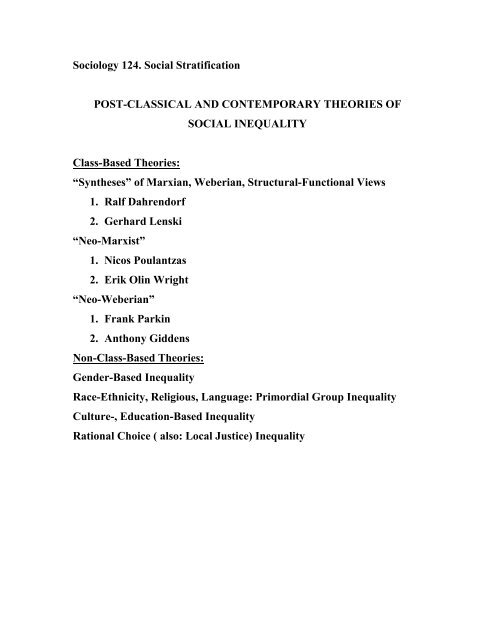 Sociology 124 Social Stratification Post Classical And