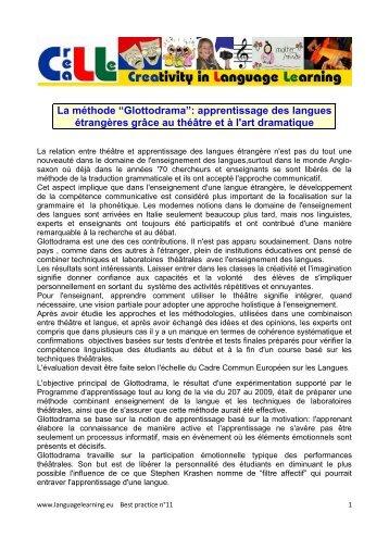 """La méthode """"Glottodrama"""": apprentissage des langues étrangères ..."""